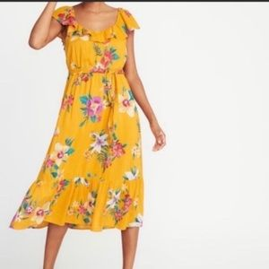OLD NAVY Yellow Floral Ruffled Midi Dress S